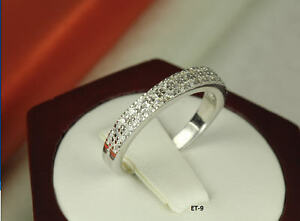 925 Stamped STERLING SILVER 2 ROW CZ PAVE ENGAGEMENT RING CZ ETERNITY BAND RING