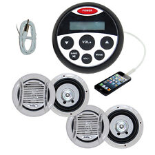Bluetooth Marine Radio Stereo Kit MP3/USB/FM/Ipod Radio+ 4 Speakers + Antenna