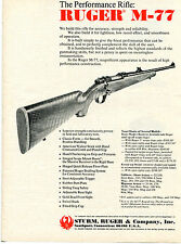 1973 Print Ad of Sturm Ruger Model M-77 The Performance Rifle