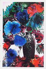 original Hand Signiert Ernst Fuchs Lithographie Große blaue Blüten Chagall Monet