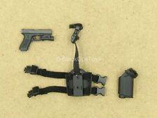 1/12 scale toy - HK SDU - Black Pistol w/Tactical Light & Drop Leg Holster