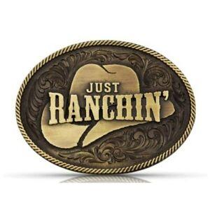 Montana Silversmiths Dale Brisby Just Ranchin' Western Belt Buckle NEW!