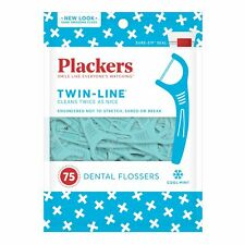 Plackers Twin Line Dental Flossers with Pick Cool Mint 75 Count (Pack of 12)