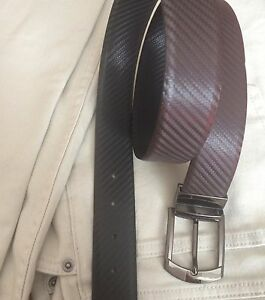 Mens Real Leather Reversible and Adjustable Belt with Carbon Fibre Effect S-XL