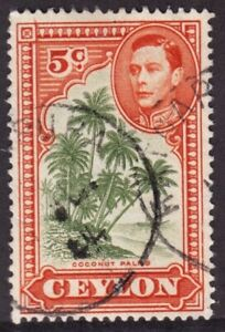 Ceylon Sc #292a (VARIETY) (1943) 5c King George VI APOSTROPHE FLAW VF Used CDS