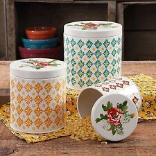 The Pioneer Woman Canister Set Vintage Geo Countertop  3-Piece Storage Kitchen