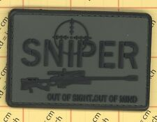 PVC SNIPER patch OUT of SIGHT out of MIND Morale Military gun ARMY olive cross 2