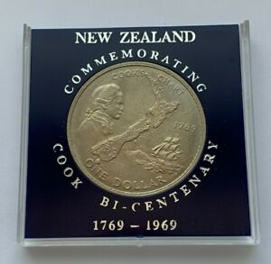 1969 NEW ZEALAND 200TH ANNIVERSARY-CAPTAIN COOK'S VOYAGE ONE DOLLAR COIN