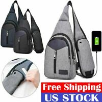 Men's Shoulder Bag Sling Chest Pack USB Charging Sports Crossbody Handbag Gift