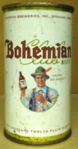 BOHEMIAN BEER USBC40-29 Flat Top CAN with ALPINE MAN, Spokane, WASHINGTON 1954