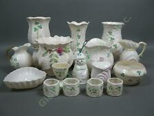 Belleek Millennium Shamrock Basketweave Vase Candleholder Creamer Sugar Bowl Lot