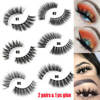 HOT 2 Pairs 3D Chemical Fiber False Eyelashes With Glue Thick Long Fluffy Wispy
