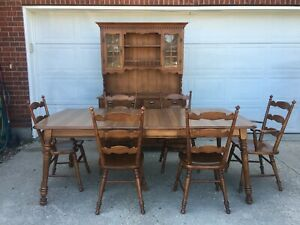 Tell City Hard Rock Maple Hutch, Dining Table and 6 Chairs