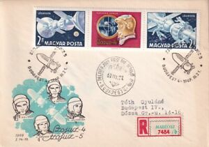 HUNGARY 1969 REGISTERED FIRST DAY COVER #C286a RUSSIAN SPACECRAFT SOYUZ 4 !! A76