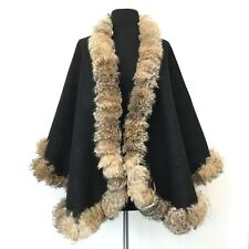 BLACK ANIMAL PRINT WITH REAL RED FOX SWING CAPE/WRAP COAT Luxor Leathers & Furs