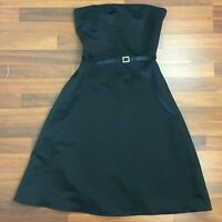 Alfred Angelo Womens Black Strapless Lined Dress with Belt & Zipper Size 12