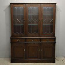 Vintage Dark Oak Bookcase display Cabinet Newplan York Range Delivery available