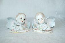 Vintage Lefton Pair Angel Bust Figurines Holding Instruments Handpainted China