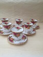 Royal Albert Old Country Rose Coffee tazze e piattini x 6 1st Qualità