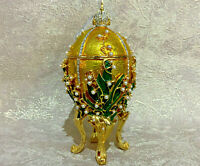 """Faberge Egg Gold Lily of the valley (6.5"""") Jewelry box Made in Russia"""