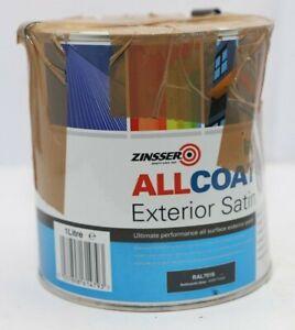 Zinsser AllCoat Exterior Water Based Satin 1L Anthracite Grey PR763 011