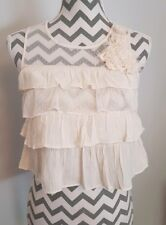 New Look Cream Lace Pearl Cropped Floaty Summer Top Size 8
