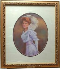 """Lady of 1908 Original Pastel Painting by Carol Theroux 23"""" x 20"""" Frame"""