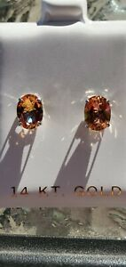 Azotic Mystic Topaz Oval Cut Stud Earrings 14kt Solid White Gold