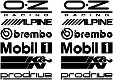 12 Black Car Door Stack Sponsor Logo Stickers Graphics Decals MX Cars