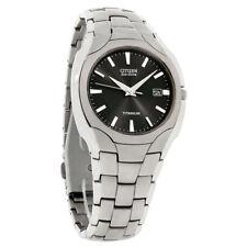 Citizen Eco-Drive BM6560-54H Men's Dress 180 Black Dial Titanium Date Watch