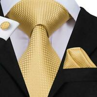 USA Classic Gold Plaid&check Mens Tie Necktie Silk Woven Set Wedding  Business
