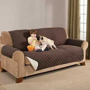 Reversible Furniture Couch Protector Quilted Brown Slipcover Kids / Pets NEW