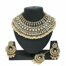 Bollywood Pearl White Crystal Kundan Choker Necklace Earring Bridal Jewelry Set
