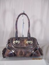 Cromia Made in Italy Croc Embossed Leather Shoulder Bag Satchel Tote Purse