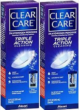 Contact Lens Solution Triple Action Cleaning CLEAR CARE 12oz ( 2 pack )