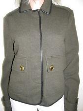 BURBERRY Wolle Leder Trim Olive Jacke Jacket Übergangsjacke Gr.36 Ita-40