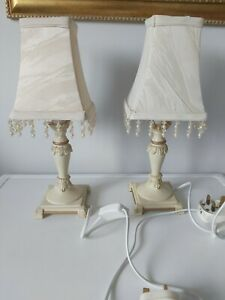 Pair of Vintage Style Ivory Cream  Small Table Lamps & Shade Shabby Chic