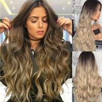 Perruque Cheveux Femmes Mesdames Longues Blond Noir Naturel Complet Perruques BM