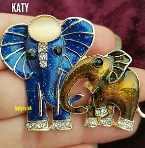 Vintage Art Deco Style Elephant BROOCH Gold Blue Enamel Pin Crystal Broach Gift