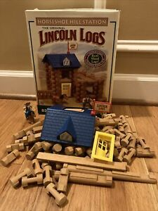 Near Complete 81/ 83 Pieces K'nex Lincoln Logs Horseshoe Hill Station – Ages 3+
