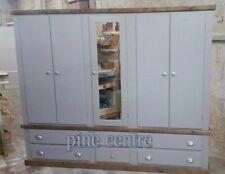 HANDMADE AYLESBURY NEXT 5 DOOR 6 DRAWER WARDROBE GREY & DARK OAK (ASSEMBLED)