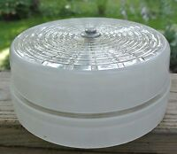 "Vintage Ceiling Frosted White & Clear Glass Shade 8-1/8"" Across"