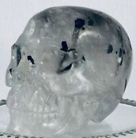 "Unbelievable 2"" Black Tourmaline In Quartz Skull Artisan Carving Protection"