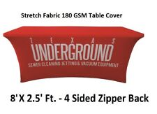 8ft. Custom Stretch Table Cover 4 Sided Zipper Back Table Cloth for Tradeshow