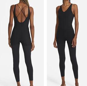 Nike Yoga Lux Jumpsuit Jumper Layered 7/8 Training DA2424-010 Women Sz M NWT