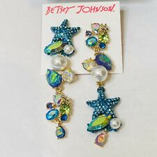 Betsey Johnson Crabby Couture Starfish Mismatch Dangle Earrings Mm7