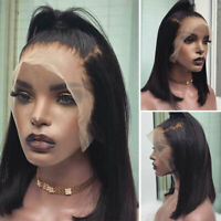Pre Plucked Remy Peruvian Human Hair Wigs Bob Glueless Lace Front Wig Black z234