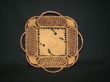 Finely Woven Grass Over Wire Intricate Lacey Style Design Vintage Antique Basket
