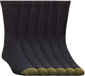 Gold Toe Men's 656S Cotton Crew Athletic Sock Multi-Pack, Black, Black, Size 6.0