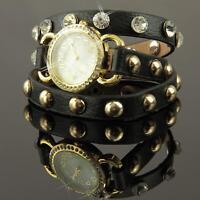 Damen Uhr Schwarz Gold  Strass Leder Nieten Armbanduhr Wickeluhr U1243